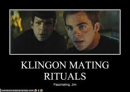 Klingon mating ritual, fascinating Jim. (reboot) Kirk and Spock look into the distance.