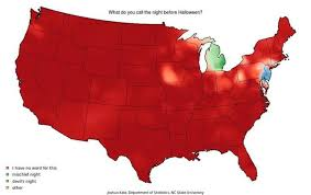 A map of what people call the night before Halloween in America