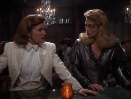Janeway and Seven in costume, in France