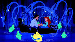 The kiss the girl scene from THE LITTLE MERMAID with Ariel and Eric in the boat.