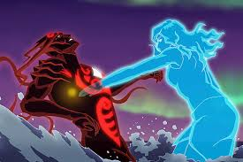 Big blue spirit Korra fights Vaatu-merged with her uncle