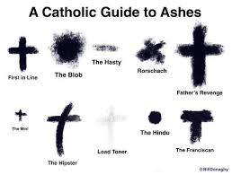 A Catholic guide to ashes (with various kinds like the blob, the hindu, the mini, etc.)