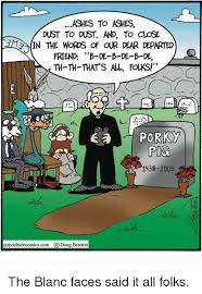 A priest giving the eulogy for Porky Pig, there are a lot of bad puns.