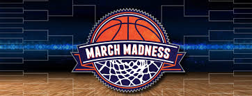 March Madness in a basketball with a bracket behind it