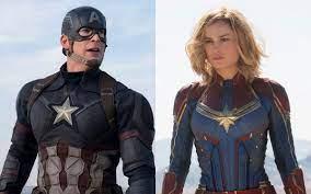 Captain America next to Captain Marvel