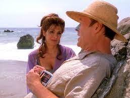 Troi and Barclay on the beach