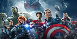 Panoramic of the Avengers with Ultron in the background