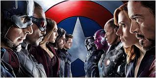 Cap, Falcon, Wanda, Bucky, Hawkeye on the left. Stark, Nat, Rhodey, Vision, Black Panther on the other