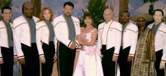 The crew in their dress uniforms at the wedding