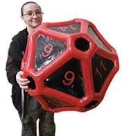 Giant black and red d20
