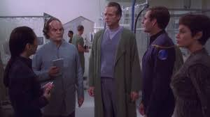 from left to right: Sato, Phlox, Valakian, Archer, T'Pol.
